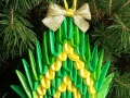 K23.sz. 3d origami Fenyő alakú karácsonyfadísz