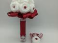 Mcs. 67. Bordó- fehér Kis Menyasszonyi csokor+ kitűző