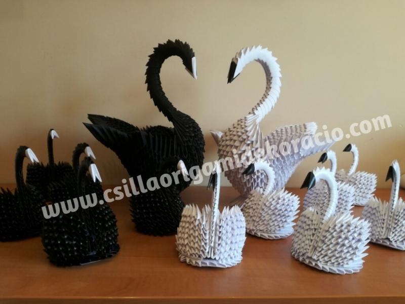 Fig74: 3D origami Hattyú család