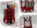 Fig.117.3d origami Tűzoltó autós Ceruzatartó