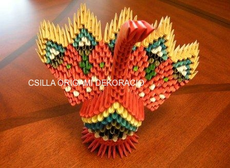 A14.3D origami kis páva