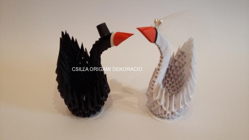 H6.sz Origami hattyúpár torta tetejére