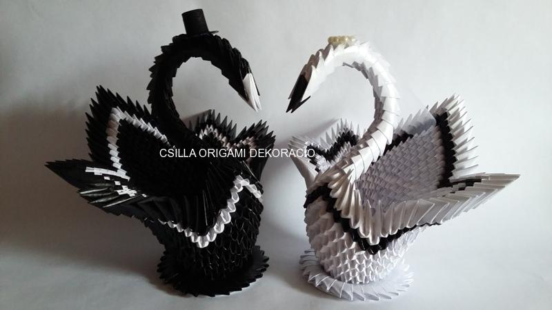 H13.sz Origami hattyúpár dekoráció