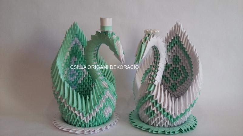 H12. sz Origami hattyúpár menta-fehér