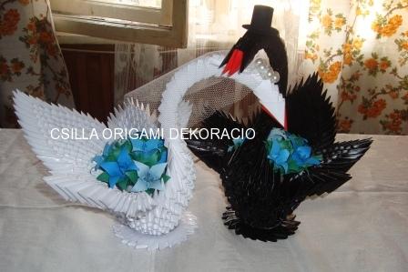 H4.Origami hattyúpár dekoráció