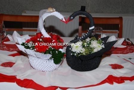 H1.Origami esküvői hattyúpár főasztalra