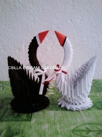 H6.Vendégajándék origami hattyúpár