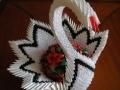 H1.Origami esküvő hattyú főasztalra virággal