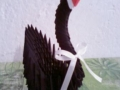 H8.Fekete origami hattyú vendégajándéknak