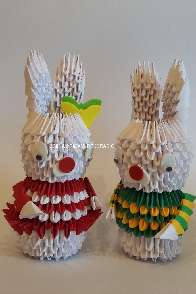 H 1. 3d origami Nyuszi lány, fiú