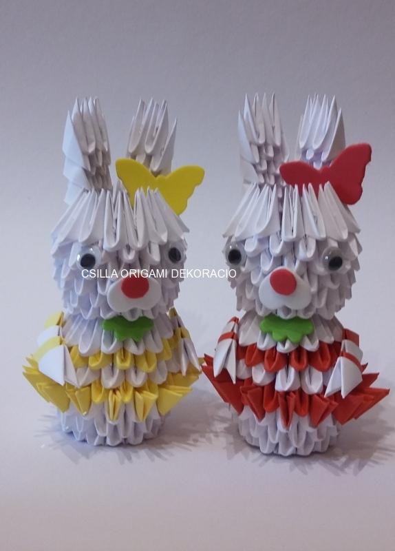 H 7. 3d origami Nyuszi lány, fiú,