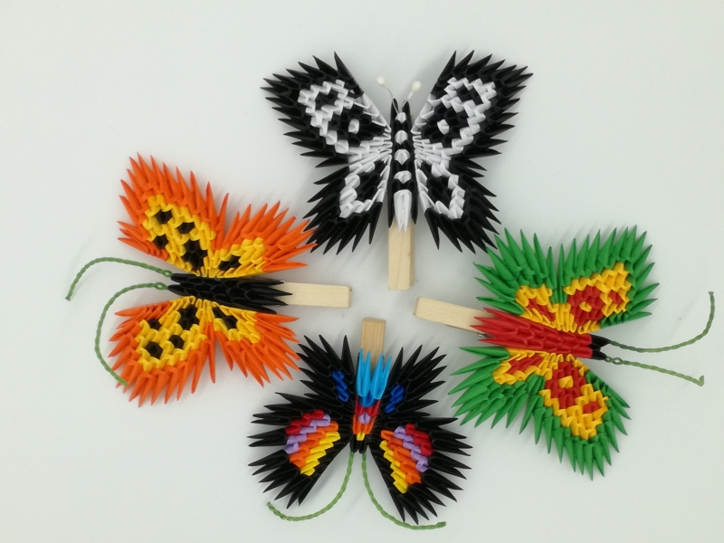 H 9. 3d origami pillangó csipeszen