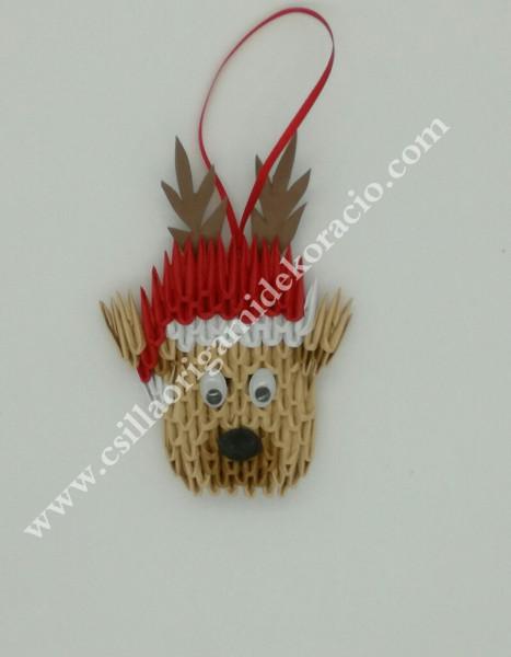 K 50.sz origami Rudolf karácsonyfa dísz