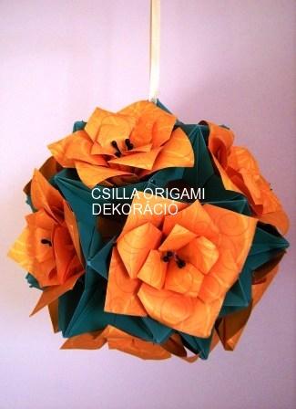 Liliomos virág origami gömb