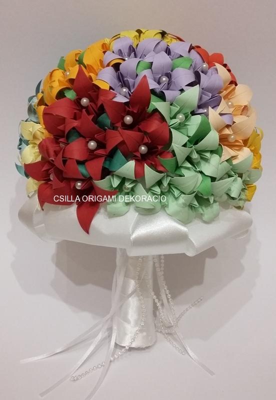 Mcs15.sz Színes origami liliom menyasszonyi csokor