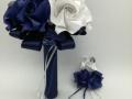 Mcs.69.sz Menyasszonyi csokor kék-fehér fényes papírból