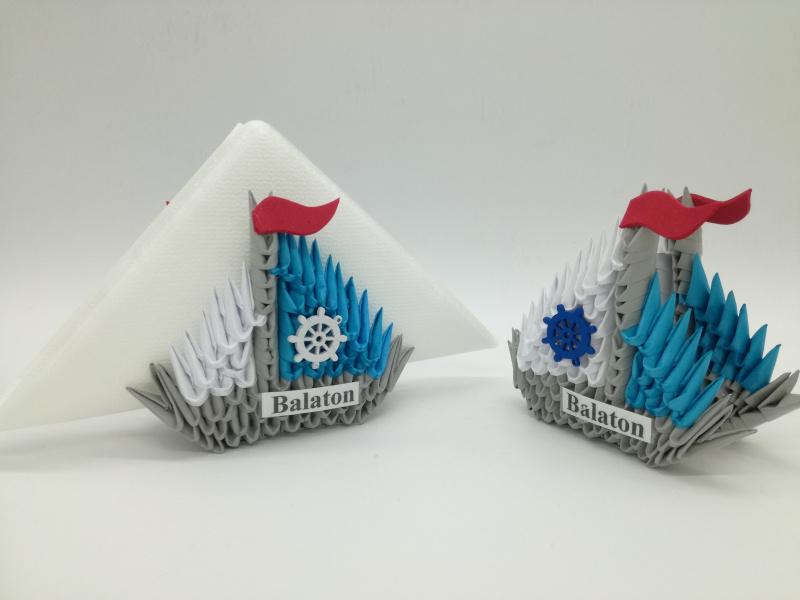 Ny.4. 3d origami szalvétatartó vitorlás