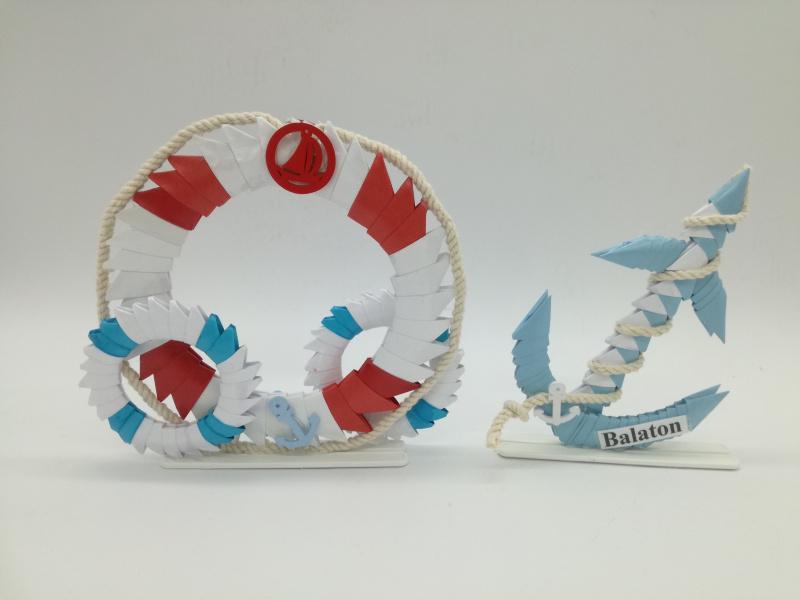 Ny.15-16. 3d origami Mentőöves,Horgonyos  álló  kétoldalas dísz