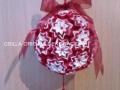 G2.sz.origami piros-fehér vénusz gömb szalaggal
